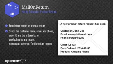 ماژول اپن کارت ارسال ایمیل بازگشت محصول